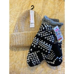 Topshop + Zella set gloves and hat NWT S7